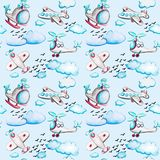 Watercolor seamless pattern with airplanes and helicopters, clouds and birds. royalty free illustration