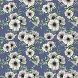 Watercolor seamless pattern with anemone and berry. Hand painted white flower, eucalyptus leaves, berry and juniper vector illustration