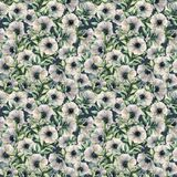 Watercolor seamless pattern with anemone. Hand painted floral illustration with white flowers and leaves isolated on. Dark blue background. For design, print Royalty Free Stock Photos