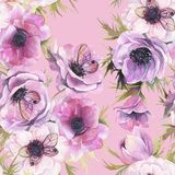 Watercolor seamless pattern with anemones and butterflies. Romantic botanical wallpaper. stock illustration