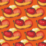Watercolor seamless pattern with apples, oranges and a banana. Watercolor seamless pattern with berries and fruits. Vector illustration Royalty Free Stock Photo