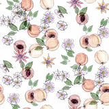 Watercolor seamless pattern with apricots and blooming flowers Stock Images