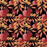 Watercolor seamless pattern with autumn leaves. royalty free stock photography