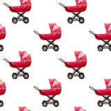 Watercolor seamless pattern of baby strollers isolated stock illustration