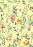 Watercolor seamless pattern, background with a floral pattern. Beautiful vintage drawings of plants, flowers,willow branch, berry. Branches, grass, chamomile stock illustration