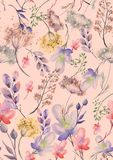 Watercolor seamless pattern, background with a floral pattern. Beautiful vintage drawings of plants, flowers,willow branch, berry. Branches, grass, chamomile royalty free illustration