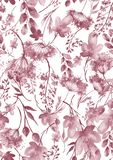Watercolor seamless pattern, background with a floral pattern. Beautiful vintage drawings of plants, flowers,willow branch, berry. Branches, grass, chamomile vector illustration