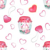 Beautiful watercolor bottle, a pattern with birds. Watercolor seamless pattern. Background with sweets, birds, hearts and flowers. Valentine`s Day. Love forever Royalty Free Stock Images