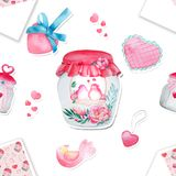 Beautiful watercolor bottle, a pattern with birds. Watercolor seamless pattern. Background with sweets, birds, hearts and flowers. Valentine`s Day. Love forever Royalty Free Stock Photography