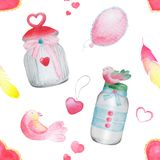Beautiful watercolor bottle, a pattern with birds. Watercolor seamless pattern. Background with sweets, birds, hearts and flowers. Valentine`s Day. Love forever Stock Photos