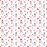 Beautiful watercolor bottle, a pattern with birds. Watercolor seamless pattern. Background with sweets, birds, hearts and flowers. Valentine`s Day. Love forever Stock Image