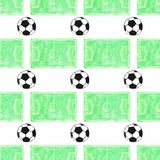 Watercolor seamless pattern with ball and football Stock Image