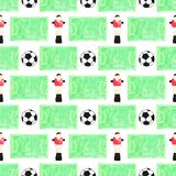 Watercolor seamless pattern with ball, player and Stock Photo