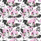 Watercolor seamless pattern. Ballet girls with bat wings and skulls. Dancing little witches. Teenager. Halloween horror. Party. Have fun. Can be use in holidays Stock Images