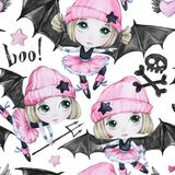 Watercolor seamless pattern. Ballet girls with bat wings and skulls. Dancing little witches. Teenager. Halloween horror. Party. Have fun. Can be use in holidays Stock Photography
