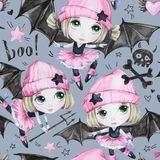 Watercolor seamless pattern. Ballet girls with bat wings and skulls. Dancing little witches. Teenager. Halloween horror. Party. Have fun. Can be use in holidays Stock Photo
