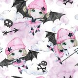 Watercolor seamless pattern. Ballet girls with bat wings and skulls. Dancing little witches. Teenager. Halloween horror. Party. Have fun. Can be use in holidays Stock Photos