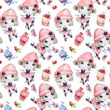 Watercolor seamless pattern. Ballet girls with sweet cakes. Dancing princesses. Teenager. Celebration birthday party Stock Images
