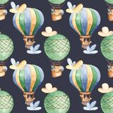 Watercolor seamless pattern with balloon and cute animals.