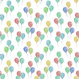 Watercolor seamless pattern with balloons, illustration for children`s clothing. stock illustration