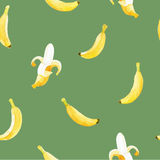 Watercolor seamless pattern with bananas. stock photo