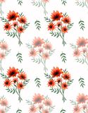 Watercolor seamless pattern with beautiful wild orange flowers and green branches on white background. Fine bright and elegant pattern for postcards Royalty Free Stock Images