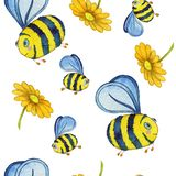 Watercolor seamless pattern with bees and flowers. Seamless hand drawn pattern with bee and flowers in watercolor style. Can be used as card, banners, paper royalty free illustration