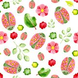 Watercolor seamless pattern with beetles and plants. For design of background, pattern, wallpaper, wrapper, print, fabric, clothes