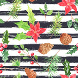 Watercolor seamless pattern with berries and cones Stock Image