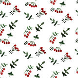Watercolor seamless pattern with berries and leaves. Vector illustration Stock Images