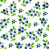 Watercolor seamless pattern with berries and leaves. Royalty Free Stock Photo
