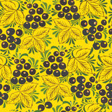 Watercolor seamless pattern with berries and leaves. Vector illustration Stock Photography
