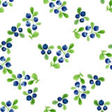 Watercolor seamless pattern with berries and leaves. Vector illustration Stock Photo