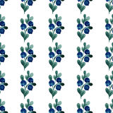 Watercolor seamless pattern with berries and leaves. Vector illustration Royalty Free Stock Photo