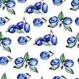 Watercolor seamless pattern with berries and leaves. Vector illustration stock illustration