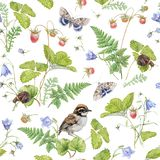Watercolor seamless pattern with berry and bird