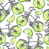 Watercolor seamless pattern bicycles with apple wheels. Colorful summer background. . Stock Images