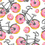 Watercolor seamless pattern bicycles with donuts wheels. Colorful summer background. Royalty Free Stock Photo