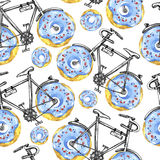 Watercolor seamless pattern bicycles with donuts wheels. Colorful summer background. Stock Image