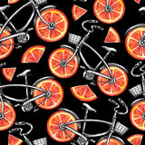 Watercolor seamless pattern bicycles with grapefruit wheels. Colorful summer background. Stock Photos