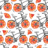 Watercolor seamless pattern bicycles with grapefruit wheels.  Stock Photos
