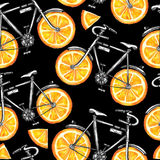 Watercolor seamless pattern bicycles with orange wheels. Colorful summer background. Royalty Free Stock Photo
