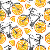 Watercolor seamless pattern bicycles with orange wheels. Colorful summer background. Stock Image