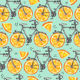 Watercolor seamless pattern bicycles with orange wheels.   Stock Photos