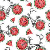 Watercolor seamless pattern bicycles with watermelon wheels. Colorful summer background. Royalty Free Stock Photos
