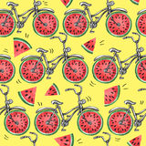 Watercolor seamless pattern bicycles with watermelon wheels. Colorful summer background. Stock Images