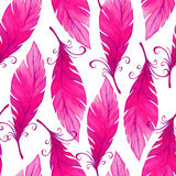 Watercolor seamless pattern with bird feathers. Stock Images