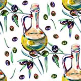 Watercolor seamless pattern with black and green olives on white. Background design for olive oil. Natural cosmetics Royalty Free Stock Photography