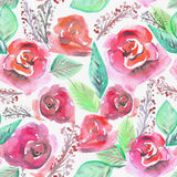 Watercolor seamless pattern with blooming roses Stock Image