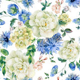 Watercolor seamless pattern with blue blooming wild flowers Stock Images